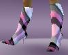 pink panel heel boots