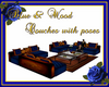 Blue & wood couches