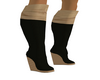 black and beige boot