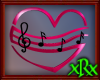 Music Note Heart Blk/Pnk