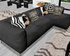:3 Modern Black Couch