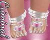 Silver Pink Heart Feet