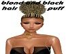 blond n black hair puff