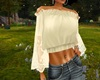 Flare Sleeve Top White