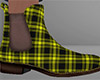 Yellow Ankle Boots Plaid