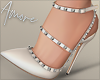 $ Studded Heels White