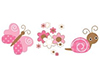 Pink Butterfly & Flowers