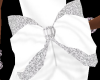 {M}White Glittered Bow