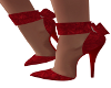 Red Velour Bow Heels