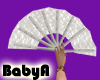 ! BA White Lace Fan L