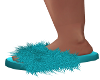 Alma-Fluffy Teal Slipper
