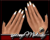 White Nails Gold Tip