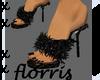 F> Black Baudoir Slipper