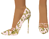 Cream patterned heels
