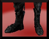 Black metal armor boots