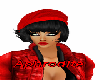 Hat red and Hair black