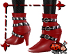 Stud Strap Boot Red