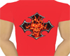 male flaming skull t-s