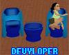 Blue Club Table n Chairs