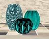 Teal Trio Vases