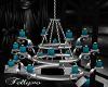 teal blue chandeliers