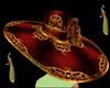 red&gold wide brim hat