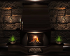 Brown Stone Fire Place