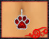 Red Ruby Paw Belly Ring