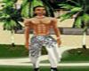 white blk silk male pant