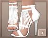 ,White Fringe Heels