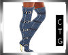 CTG BUCKLED DENIM BOOTS
