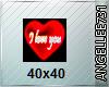 I LOVE U HEART 40 x 40