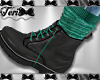 Teal Socks Black Boots