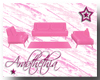 .A. Pink Suede Couch Set
