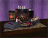 Cafe fireplace w/ books