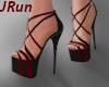 Strappy Red & Blk Heels