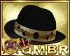 QMBR Hat Blk Rose Bowler