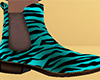 Teal Tiger Stripe Chelsea Boots (M)