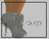 Blue Gray Fur Ankle Boot