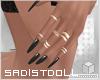 💋 Black Nails + Rings