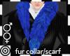 *m Blue Fur Collar Scarf