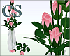Pink Roses Clear Glass