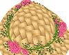 Tan Sunhat/Pink Flowers