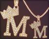 Gold Chain M Letter Fem