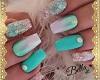 Nails Aqua Glitter