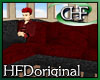 Chaise Sofa Red Black