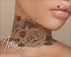 $ Roses Neck Tattoo