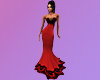 Red & Black Lace Gown