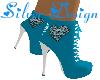 SW Blue Skull Heart Boot