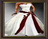 Ruby/white wedding gown
